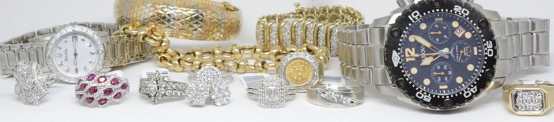 assorted jewelry, two watches several white gold diamonds ring, ruby ring and three gold bracelets